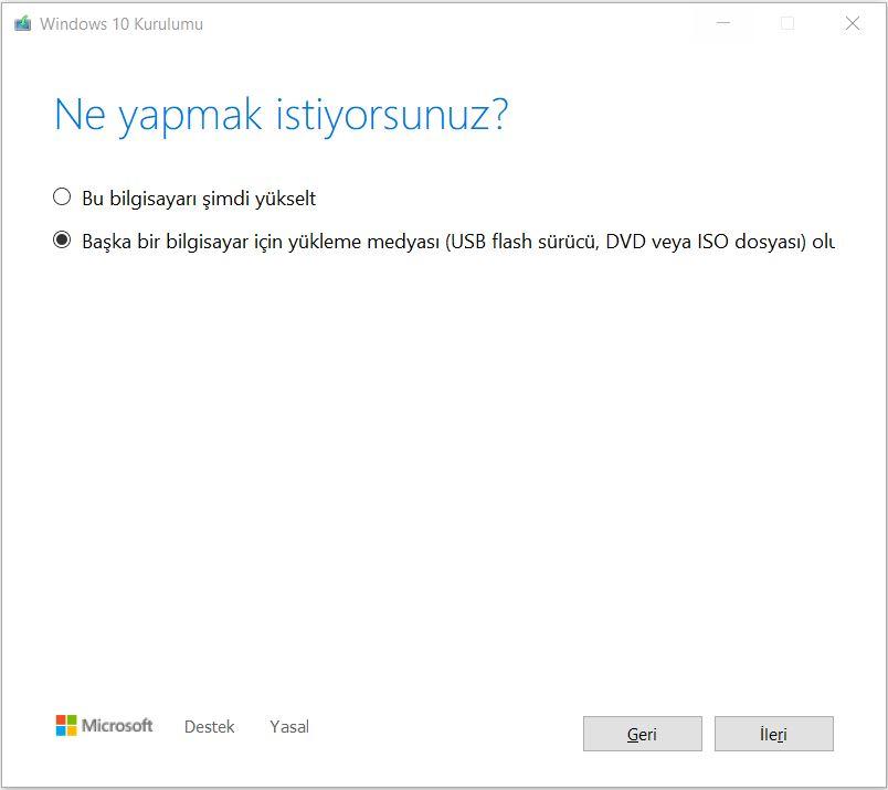 Windows 10 USB Kurulum Medyası Oluşturma