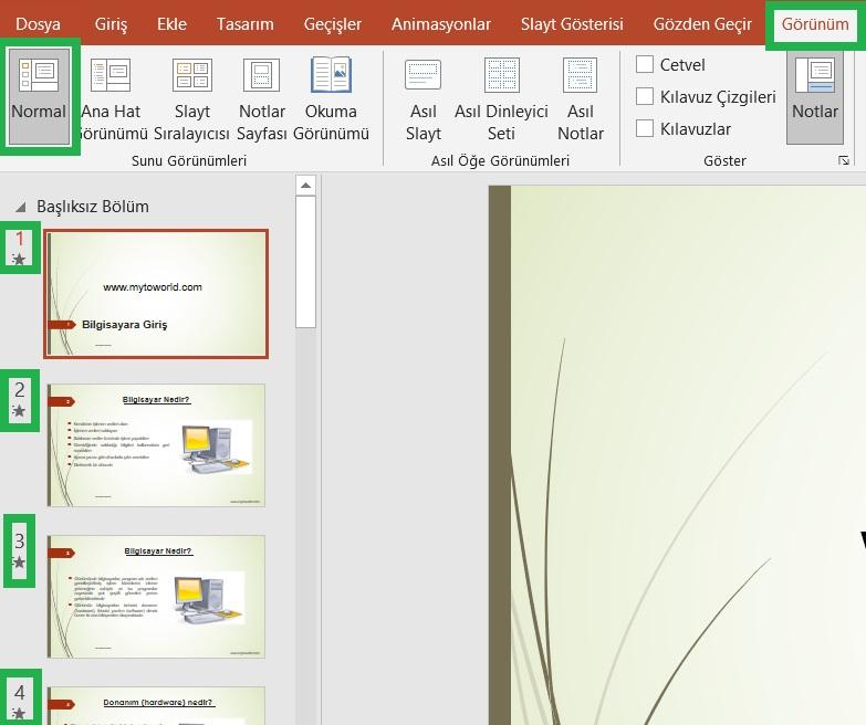 PowerPoint Toplam Slayt Numarası Ekleme