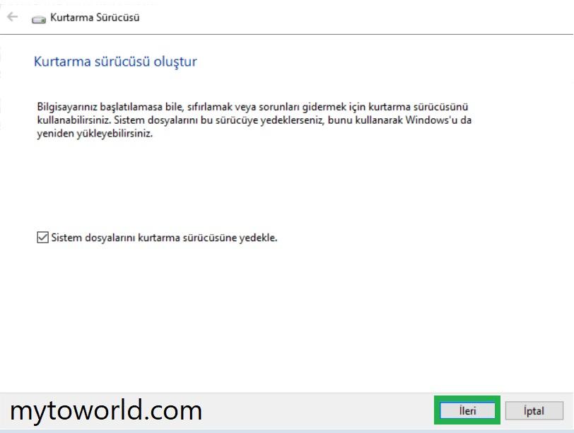 Windows 10 Kurtarma Sürücüsü Nasıl Oluşturulur