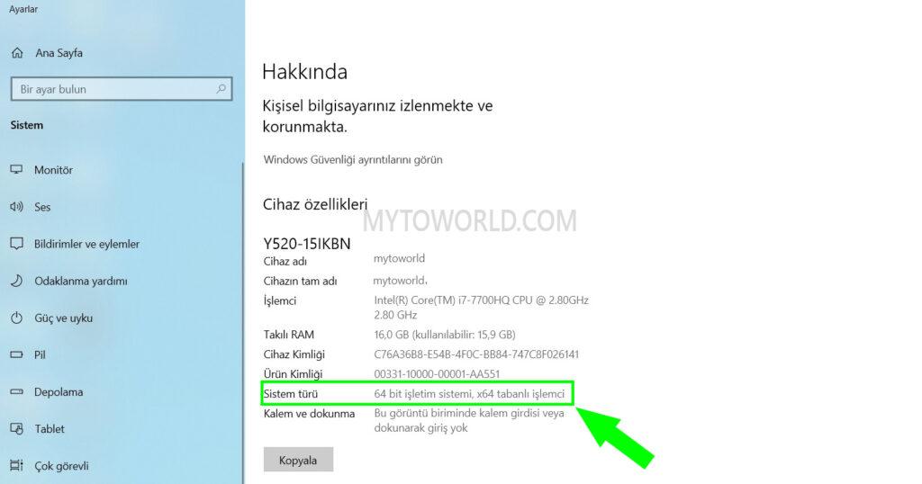 windows-10-bilgisayarin-kac-bit-oldugu-nasil-anlasilir
